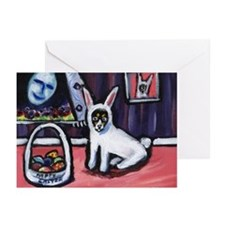 Rat Terrier Easter Bunny art Greeting Cards (Packa