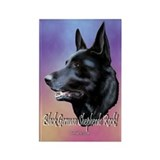 Black German Shepherds Rock Rectangle Magnet