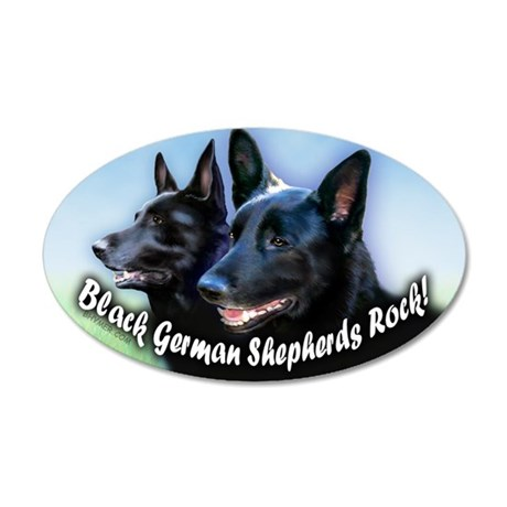 Black German Shepherds Rock 22x14 Oval Wall Peel