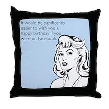 Happy Birthday on Facebook Throw Pillow