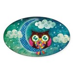My Crescent Owl Sticker (Oval 10 pk)