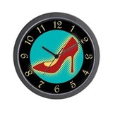 Retro Red High Heel Shoe Wall Clock