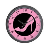 Pink High Heel Shoe Wall Clock