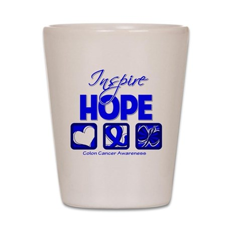 Colon Cancer Inspire Hope Shot Glass