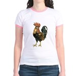 Rooster Chicken (Front) Jr. Ringer T-Shirt