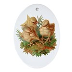 Chicken Chicks Oval Ornament