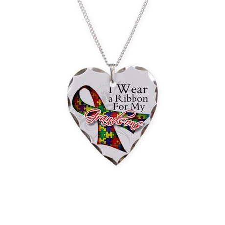 For My Grandsons - Autism Necklace Heart Charm
