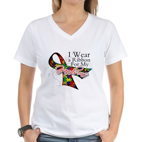 For My Grandsons - Autism Women's V-Neck T-Shirt