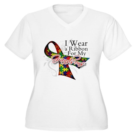 For My Grandsons - Autism Women's Plus Size V-Neck