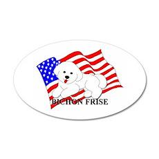 Bichon Frise USA 38.5 x 24.5 Oval Wall Peel