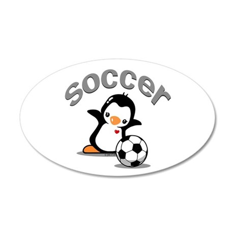 Soccer Penguin (6) 20x12 Oval Wall Decal