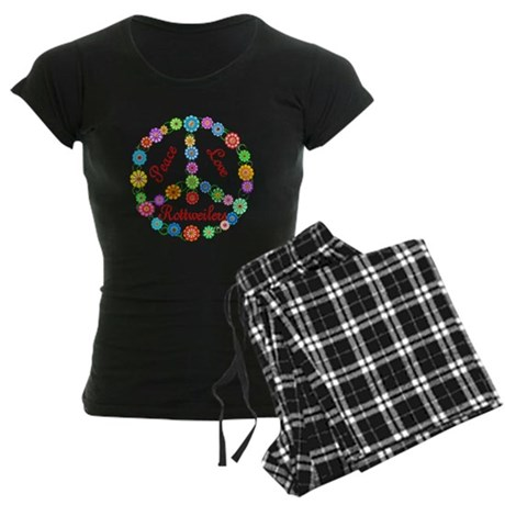 Peace Love Rottweilers Women's Dark Pajamas