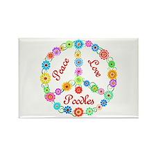 Peace Love Poodles Rectangle Magnet