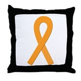 Orange Ribbon Throw Pillow