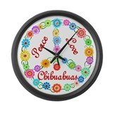 Peace Love Chihuahuas Large Wall Clock
