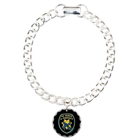 Thin Blue Line Serve Protect Charm Bracelet, One C