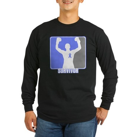 Stomach Cancer Men Survivor Long Sleeve Dark T-Shi