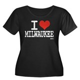 I LOVE MILWAUKEE Women's Plus Size Scoop Neck Dark