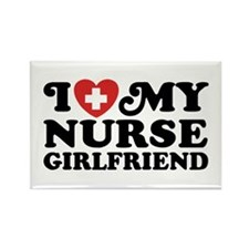 I Love My Nurse Girlfriend Rectangle Magnet