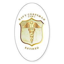 Corpsman USMC Retired Oval Decal