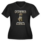 Puggle Mom Women's Plus Size V-Neck Dark T-Shirt