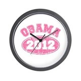 OBAMA 2012 Pink Faded Wall Clock