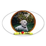 lab puppy Sticker (Oval)