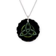 Triquetra Green Necklace Circle Charm