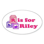 Baby Blocks Riley Sticker (Oval 10 pk)