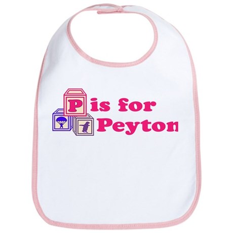 Baby Name Blocks - Peyton Bib