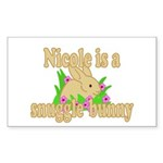 Nicole is a Snuggle Bunny Sticker (Rectangle 50 pk