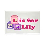 Baby Blocks Lily Rectangle Magnet (10 pack)