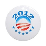 Obama 2012 with Stars Ornament (Round)