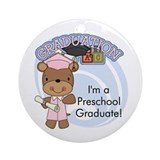 Girl Bear Preschool Grad Ornament (Round)