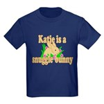 Katie is a Snuggle Bunny Kids Dark T-Shirt