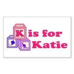 Baby Blocks Katie Sticker (Rectangle)