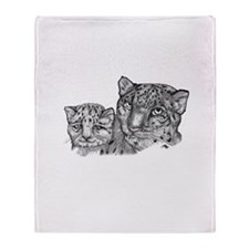 snow leopard mom and cub Throw Blanket