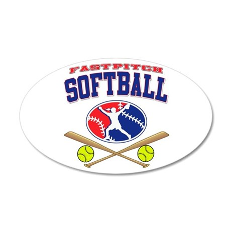 Girls Softball 22x14 Oval Wall Peel