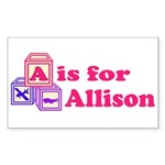 Baby Blocks Allison Sticker (Rectangle)