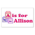Baby Blocks Allison Sticker (Rectangle 10 pk)