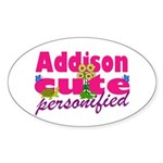 Cute Addison Sticker (Oval)