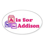 Baby Blocks Addison Sticker (Oval 50 pk)