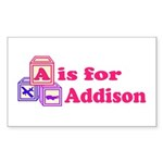 Baby Blocks Addison Sticker (Rectangle 50 pk)