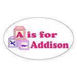 Baby Blocks Addison Sticker (Oval 10 pk)