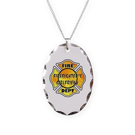 Firefighters Girlfriend Necklace Oval Charm