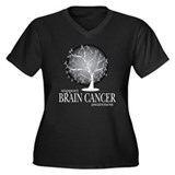 Brain Cancer Tree Women's Plus Size V-Neck Dark T-