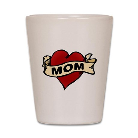 Mom heart tattoo Shot Glass