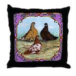 English Shortfaced Pigeons Fr Throw Pillow