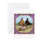 English Shortfaced Pigeons Fr Greeting Cards (Pk o