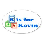 Baby Blocks Kevin Sticker (Oval 10 pk)
